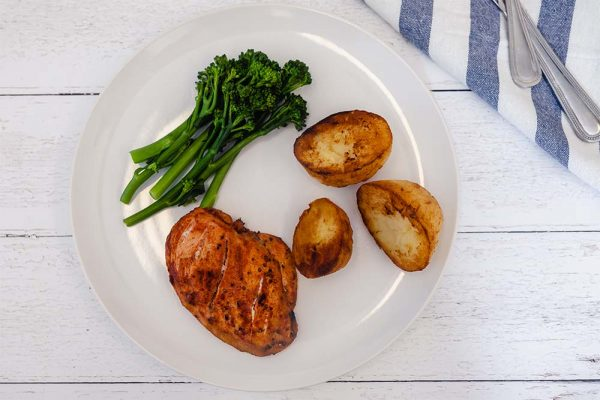 Herb Infused Lemon _ Garlic Chicken, Herb Roasted Potatoes and Wilted Greens